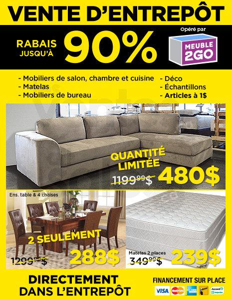 Vente d 39 entrep t de meubles jusqu 39 90 for Meuble 2 go montreal