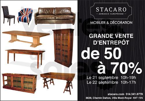 Vente stacaro meubles jusqu 39 70 for Entrepot meuble montreal