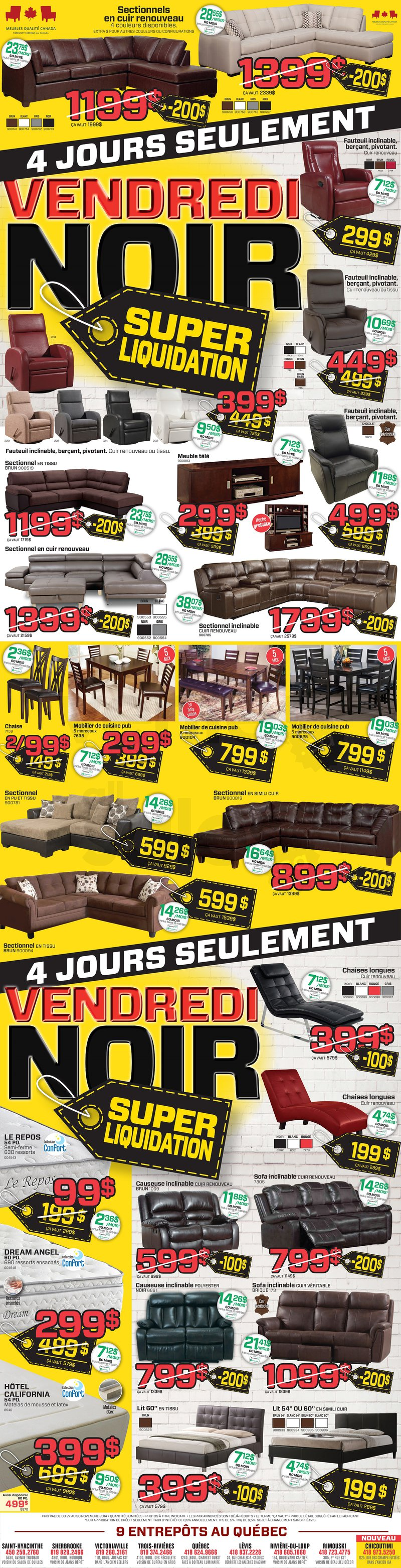 Meubles super liquidation vendredi noir for Ashley meuble sherbrooke