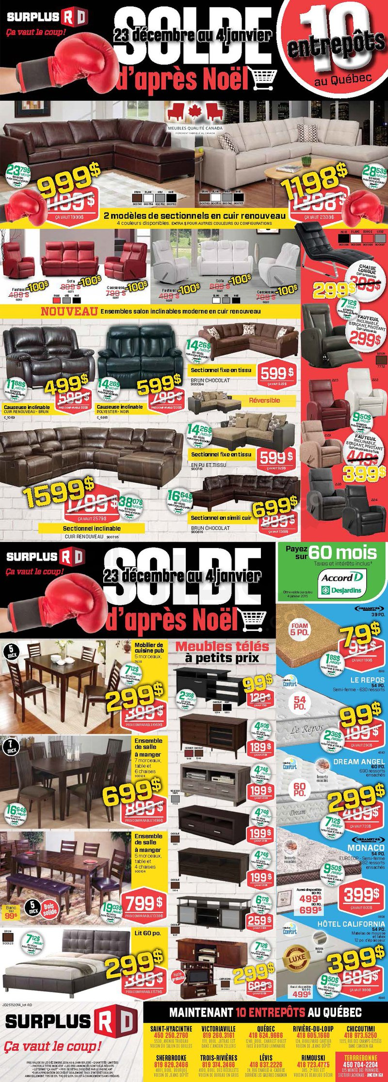 Meubles soldes d 39 apr s no l for Liquidation meuble sherbrooke