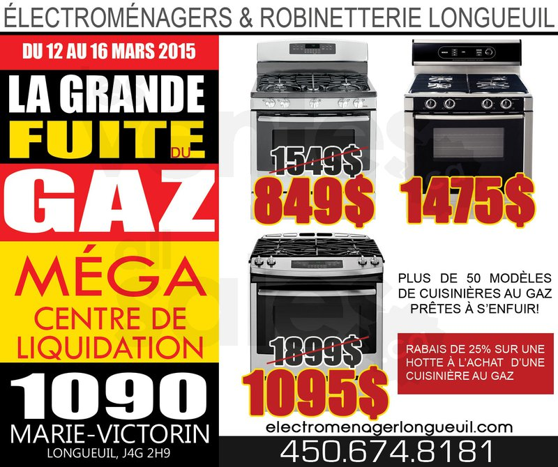 Liquidation de cuisini res au gaz plus for Liquidation electromenager longueuil