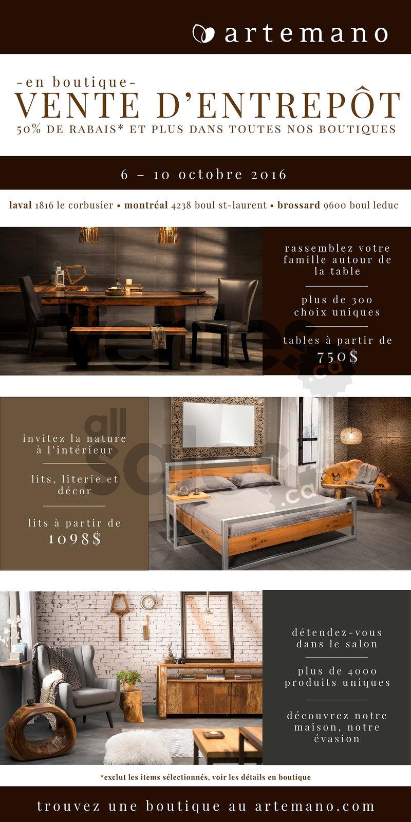 vente d 39 entrep t artemano rabais 50. Black Bedroom Furniture Sets. Home Design Ideas