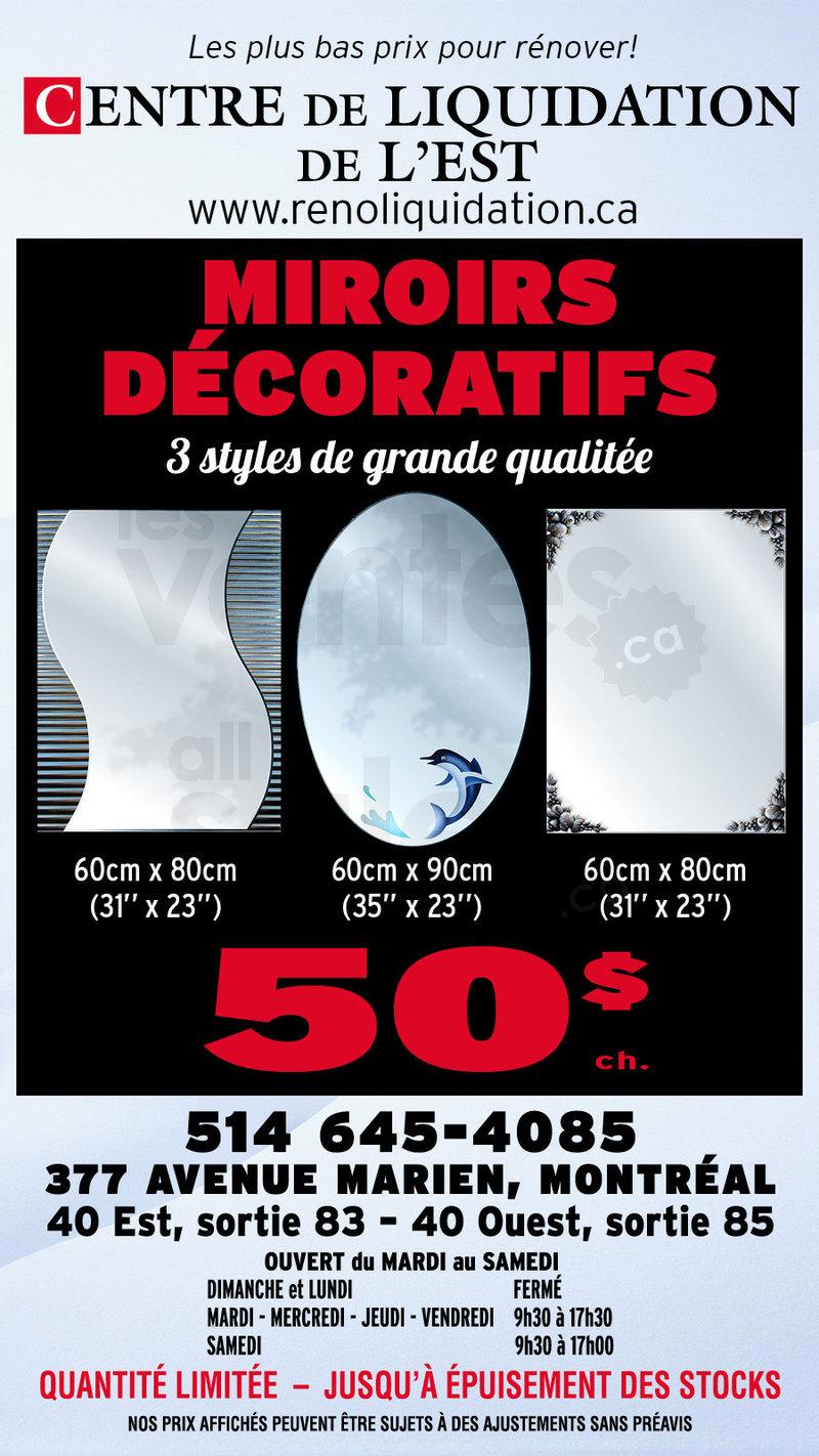 Grand solde miroir d coratif 3 styles for Miroir decoratif montreal
