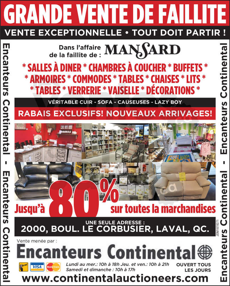 Vente de faillite meubles et d co 80 for Liquidation meuble de jardin laval