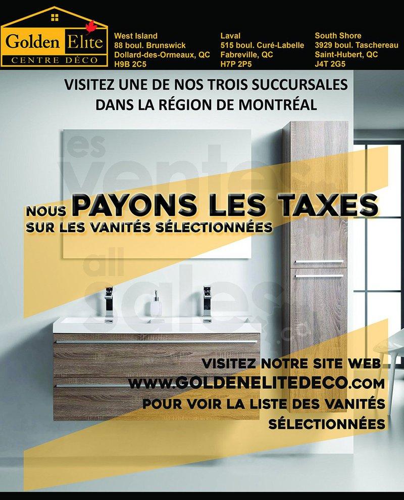 taxes pay es sur vanit s salle de bain. Black Bedroom Furniture Sets. Home Design Ideas
