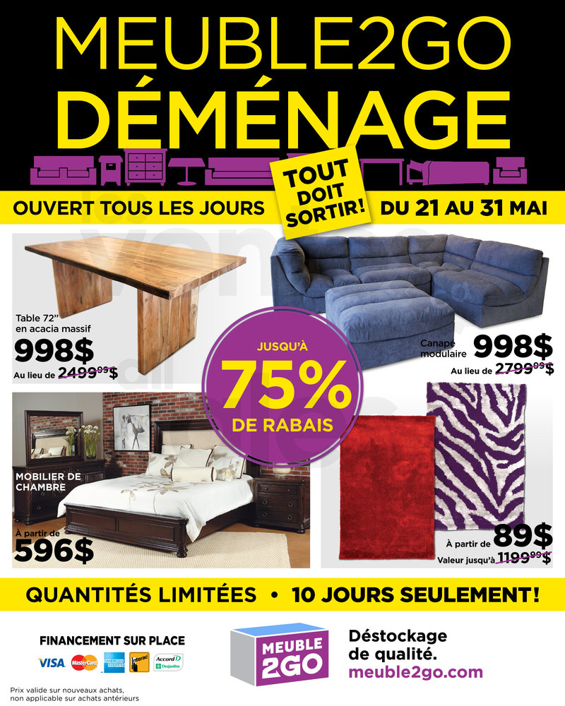 Vente d m nagement meubles matelas 75 for Meuble to go montreal