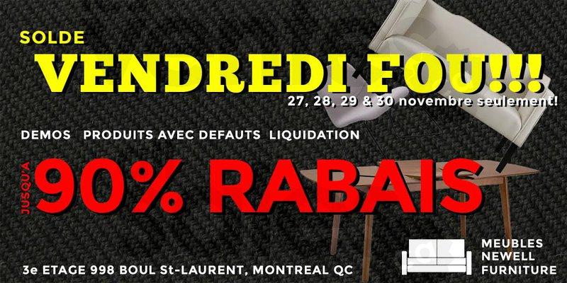 Vendredi fou meubles design jusqu 90 for Meubles newell montreal