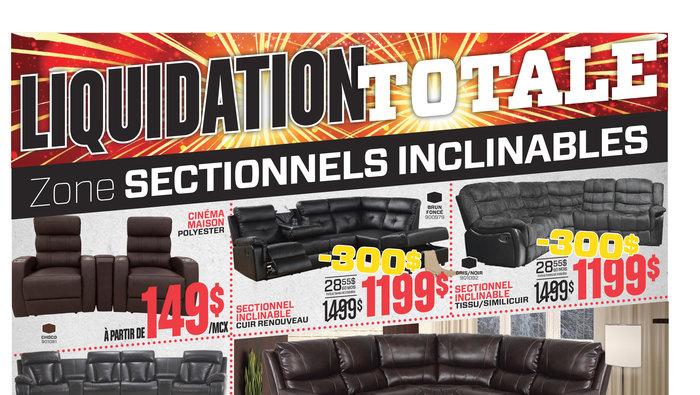 liquidation sectionnels inclinables. Black Bedroom Furniture Sets. Home Design Ideas