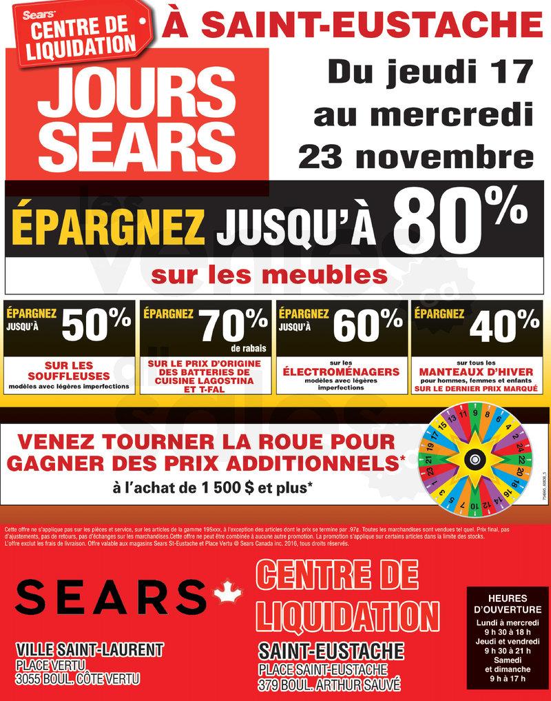 Jours sears centres de liquidation sears for Meubles eustache