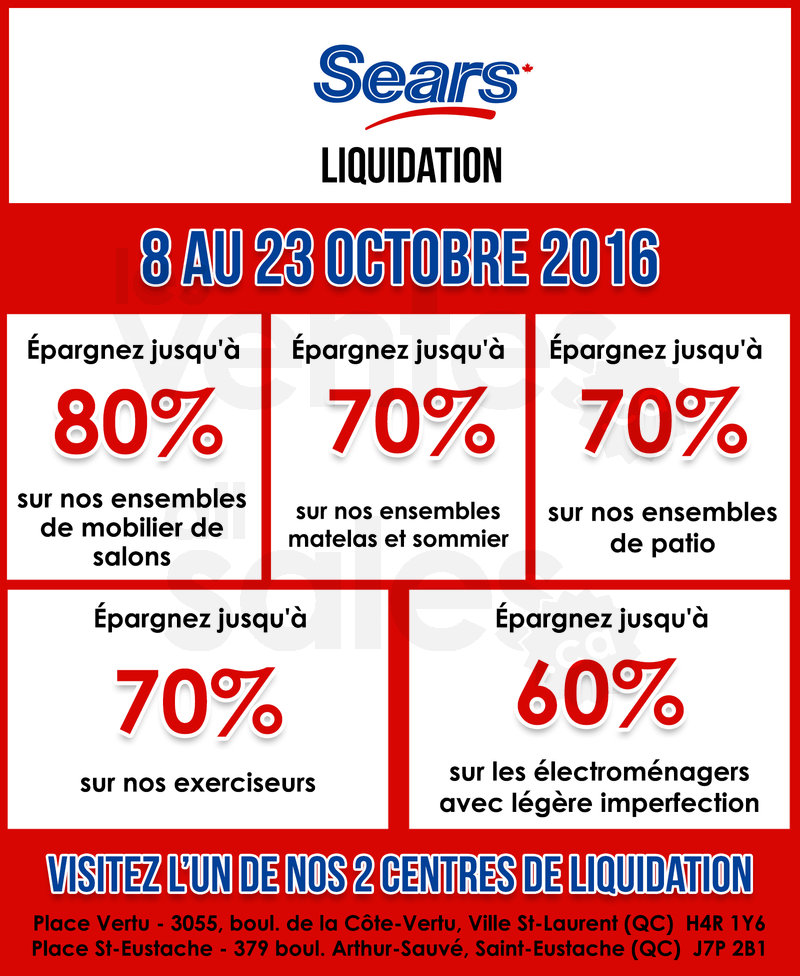 Grande vente chez sears liquidation for Centre liquidation matelas