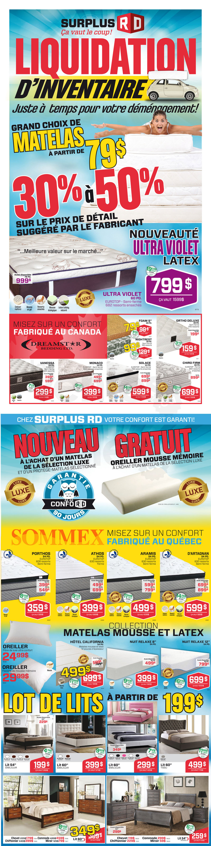 Surplus rd liquidation de matelas for Matelas en liquidation