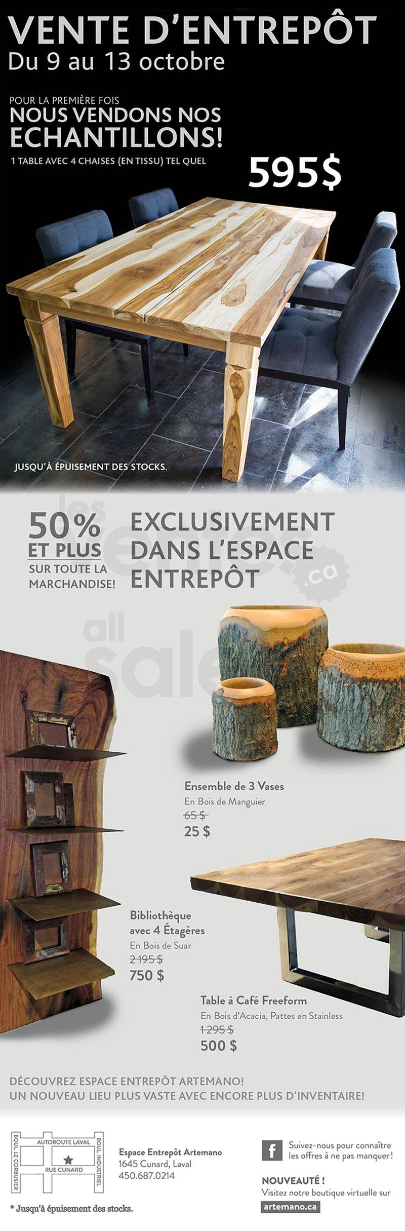 Artemano vente entrep t de mobilier 50 for Entrepot de meuble montreal