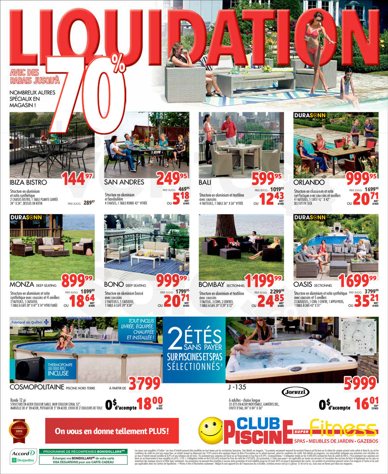 Club piscine liquidation 70 de rabais for Club piscine super fitness laval chomedey a15