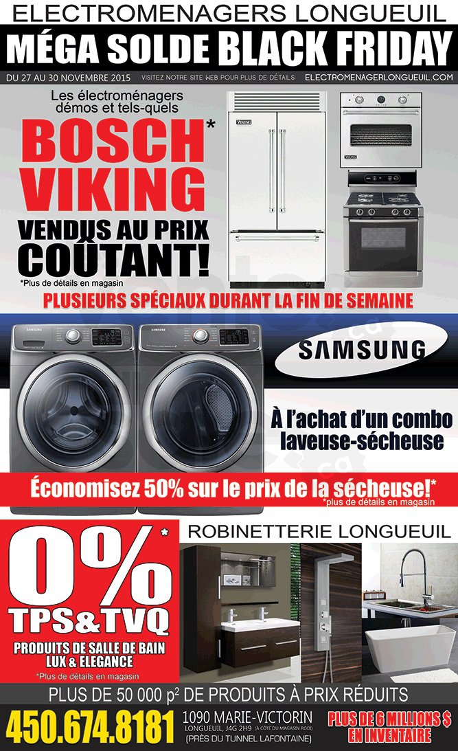 M ga solde lectrom nagers robinetterie for Liquidation electromenager longueuil